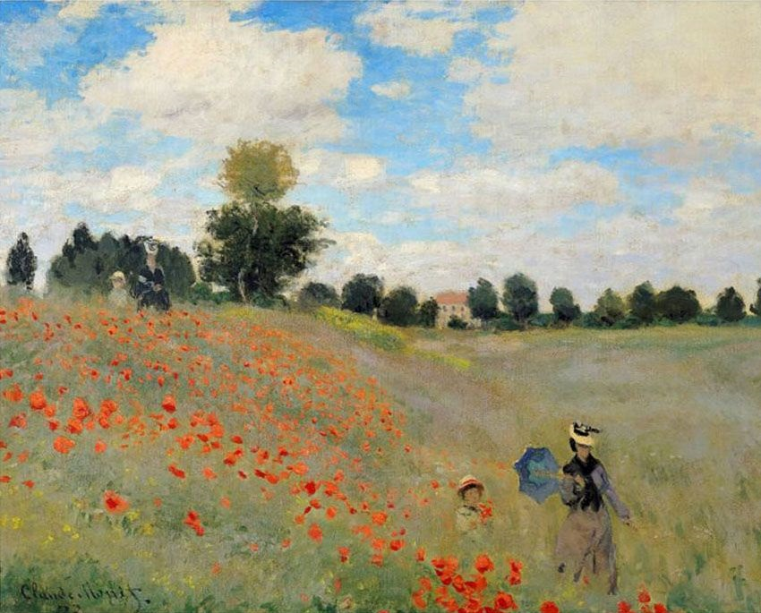 Tranh son dau Cay anh tuc hoang dai Wild Poppies Claude Monet