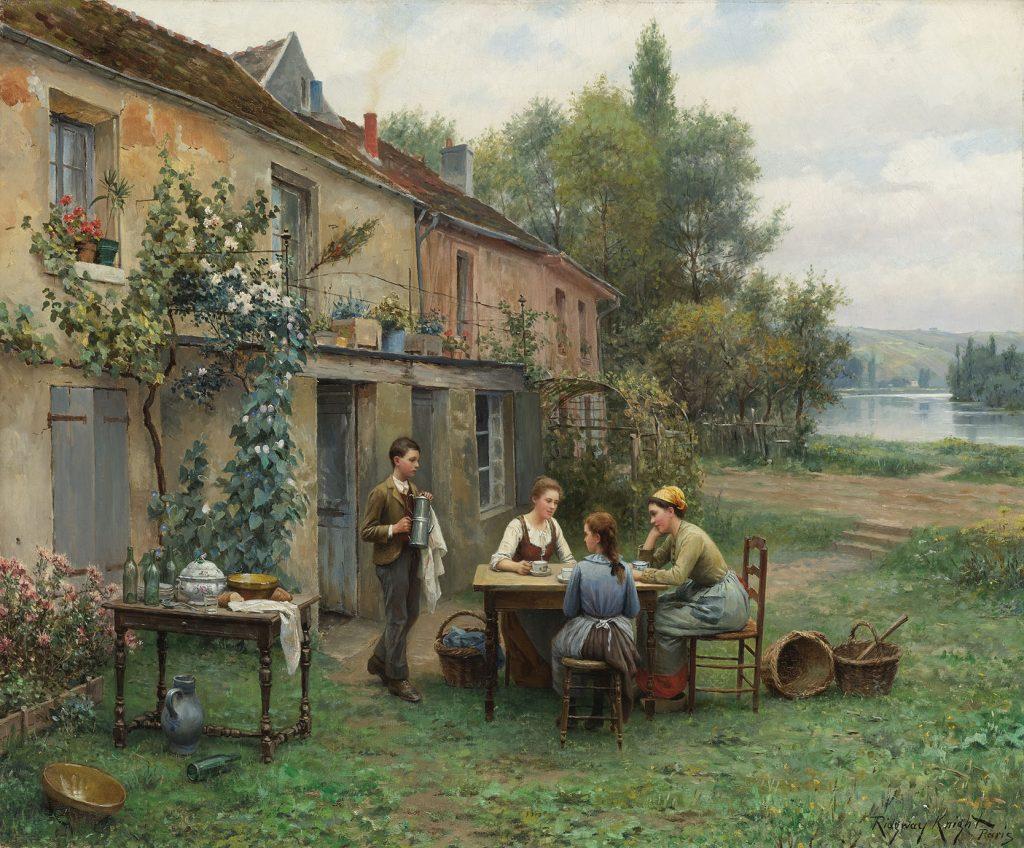 Bức tranh Cafe trong vườn (Daniel Ridgway Knight)