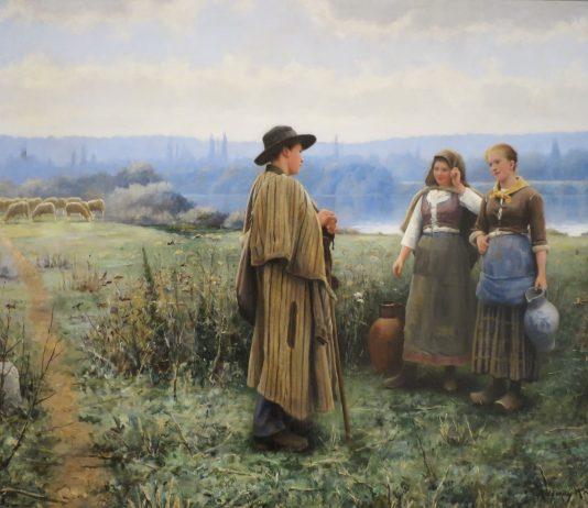 Bức tranh Giờ giải lao (Daniel Ridgway Knight) - màu sắc trung tính cùng cách vẽ di cọ gợi không khí trong lành của miền quê yên bình
