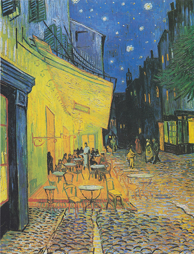 Bức tranh Cafe về đêm trên vỉa hè khách sạn Forum