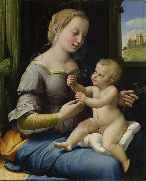 Bức tranh Đức Mẹ và hoa cẩm chướng (Raphael Santi)